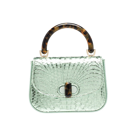 Edie Parker designer handbag Mini Top Handle in mint green painted python skin flat top with tortoise rhodoid top handle and turnlock closure.