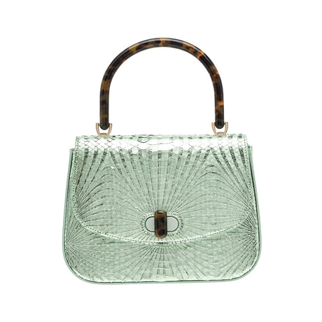 Edie Parker designer handbag Large Top Handle in mint green painted python skin flat top with tortoise rhodoid top handle and turnlock closure.