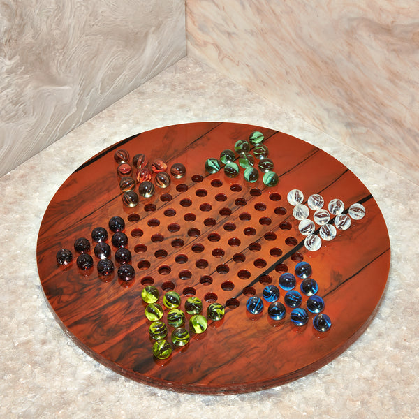Chinese Checkers Set in Fawn Marble