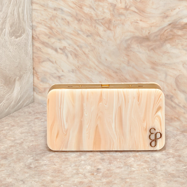 Hardbody Metal Clutch In Ivory Marble