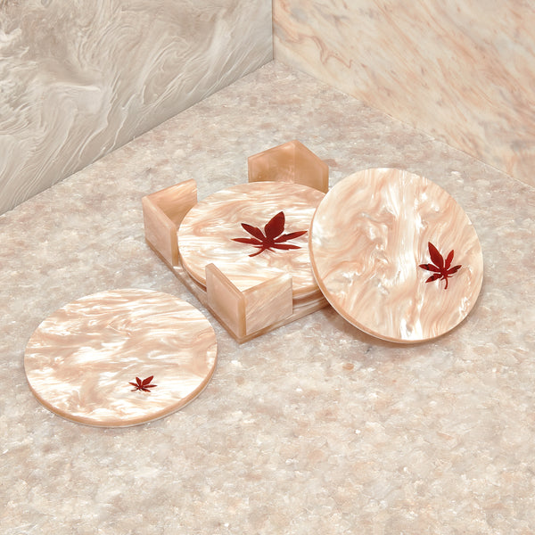 Scattered Leaves Round Coasters