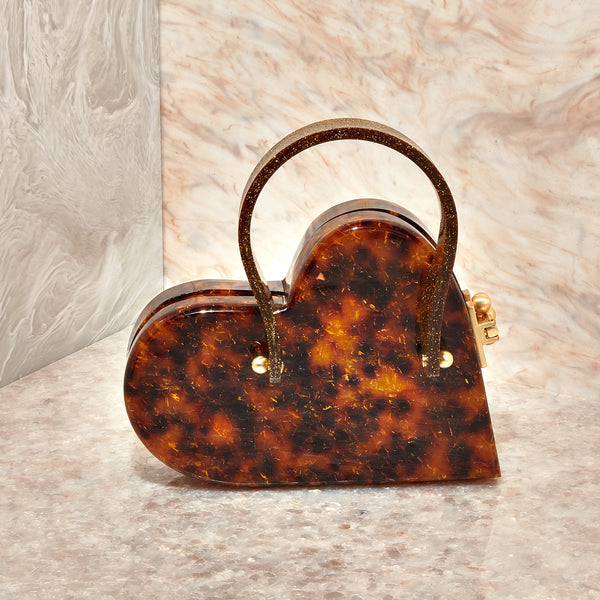 Heartly With Handle In Gold Fleck Tortoise