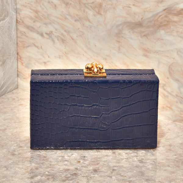 Jean Box in Embossed Patent Croc Blueberry
