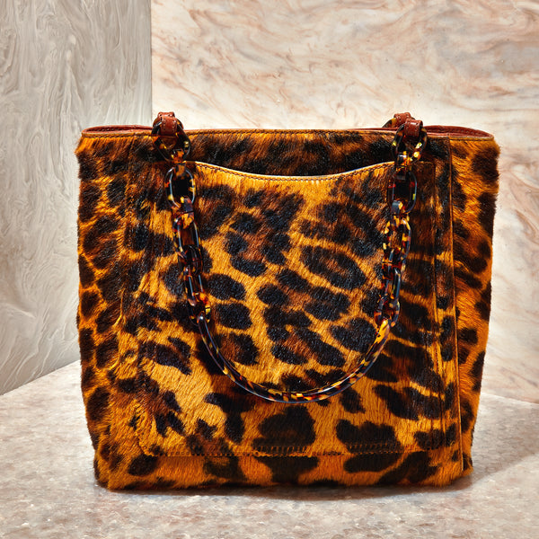Mini Tote in Long Haircalf Leopard