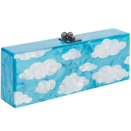 Edie Parker Flavia Sky Clutch in turquoise blue pearlescent with white pearlescent cloud motif interior view with etched logo mirror