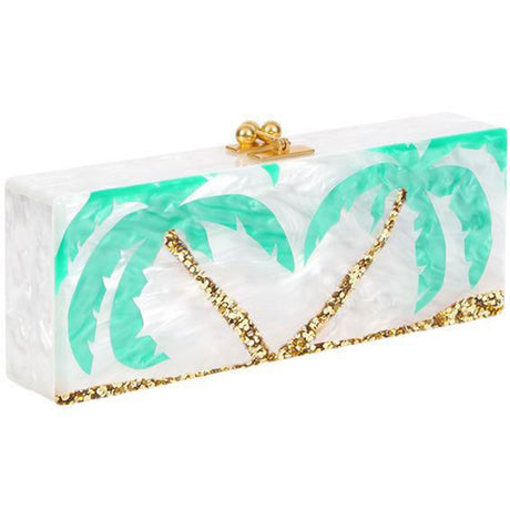 Edie Parker Flavia Palm Tree Reissue White Handbag Clutch Kelly Green Leaves Gold Clasp