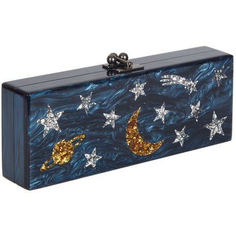Edie Parker Flavia Solar System Clutch in Navy Pearlescent with Gold Confetti and Silver Confetti Planets Stars Moon Shooting Star Motif and Steel hardware