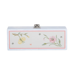 Edie Parker Flavia Jardin Mist Blue Marble Smoke Grey Panel Handbag Clutch with Floral Pattern Green Stems