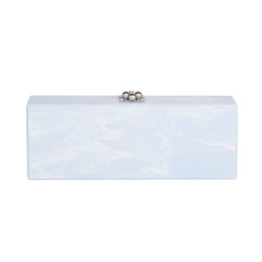 Edie Parker Flavia Jardin Mist Blue Marble Smoke Grey Panel Handbag Clutch with Floral Pattern Silver Hardware