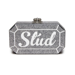 Edie Parker Fiona Faceted Silver Glitter Stud Handbag Clutch Mirror Text Front View