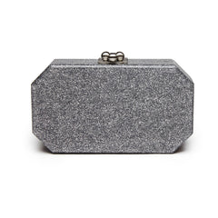 Edie Parker Fiona Faceted Silver Glitter Stud Handbag Clutch Mirror Text Back View