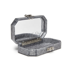 Edie Parker Fiona Faceted Silver Glitter Stud Handbag Clutch Mirror Text Open View