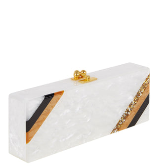 Edie Parker Diagonal White Pearlescent Handbag Clutch Gold Hardware Black Corner Stripes