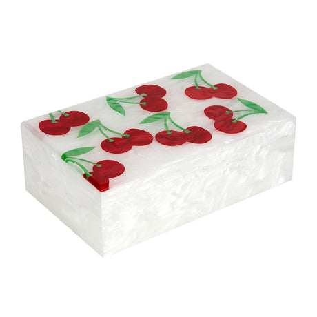 Edie Parker Home Cherry Box in White Pearlescent with Red Pearlescent and Kelly Green Pearlescent