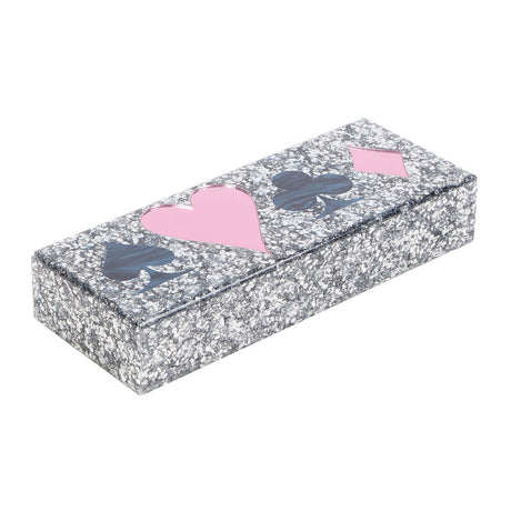 silver-confetti, Card Box Symbols in silver confetti with pink and blue lapis motif on lid