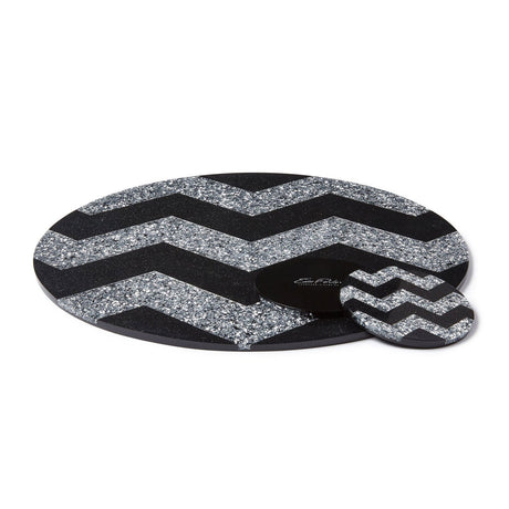 obsidian-silver-confetti, Edie Parker Designer Table Placemat Chevron in silver confetti acrylic and obsidian sand, with black base.
