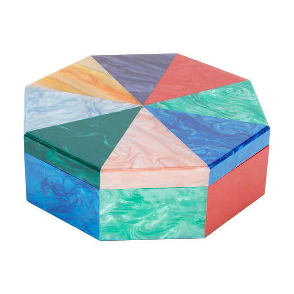 multi, Edie Parker Home Octagon Box with triangular shapes in Kelly green, ocean blue pearlescent, emerald, light pink, red, orange