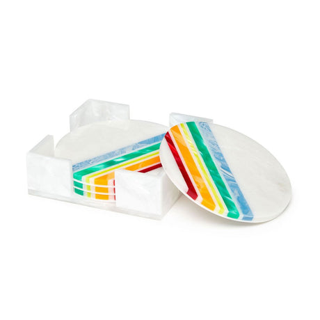 Edie Parker Home Round Coaster Angled Stripes Rainbow White  Set of Four