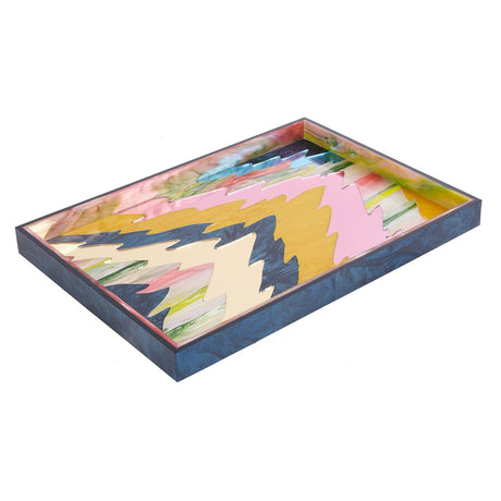 navy, Tray Ripple in navy pearlescent with pink tie dye, gold mirror, pink mirror, and yelow pearlescent ripple motif with black base