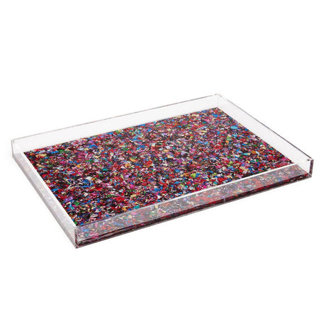 rainbow-confetti, Tray Solid in rainbow confetti with clear sides and black base.