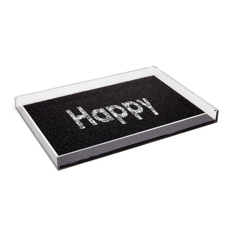 obsidian-silver-confetti, Edie Parker Decorative Designer Serving Tray Happy in obsidian sand featuring silver confetti print text, with clear sides and black base.