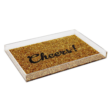 Edie Parker Gold Confetti Cheers Tray Home Accents Collection Acrylic Clear Side Feature