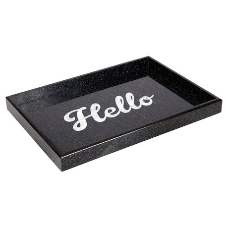 Edie Parker Home Hello Tray in Starlight black with starlight sides and script white pearlescent text