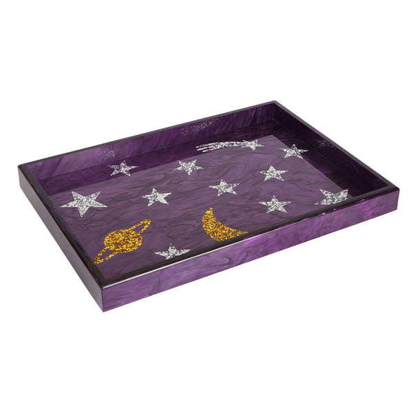 Edie Parker Home Collection Solar System Tray in Purple with gold confetti silver confetti planets stars moon shooting star angled view