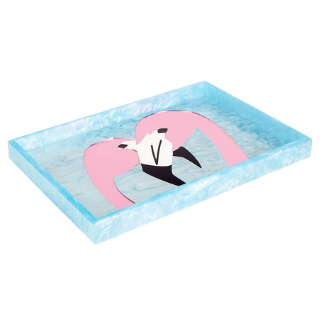 Edie Parker Home Collection Flamingo tray in powder light blue and pink mirror clear mirror black flamingo motif