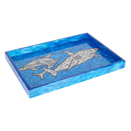 Edie Parker Home Shark Tray in ocean blue pearlescent featuring silver pearlescent and silver confetti shark motif with ocean pearlescent sides and black base.