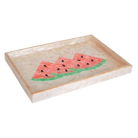 Edie Parker Home Collection Watermelon Tray in Nude with Pink Light Green Watermelon and black seeds  angled view