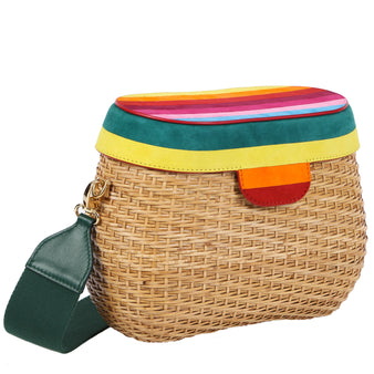 Edie Parker Jane Straw Basket Crossbody Handbag Clutch Rainbow Striped Suede Lid Green Strap