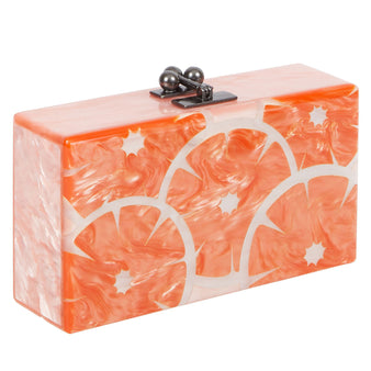 Edie Parker Jean Slices Clutch Handbag in Light Pink with Orange pearlescent slices motif