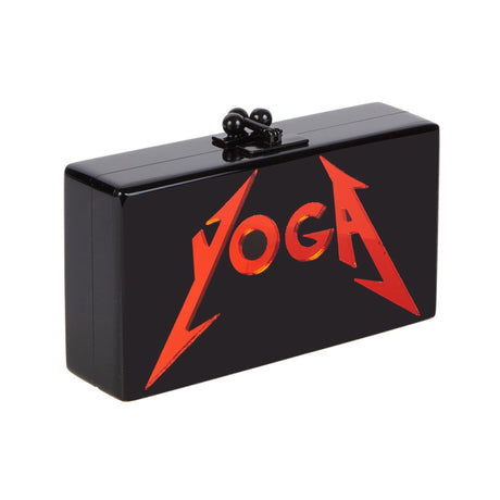 Edie Parker Jean Yoga Clutch Handbag in Black with Red Mirror Block Text with Black Clasp