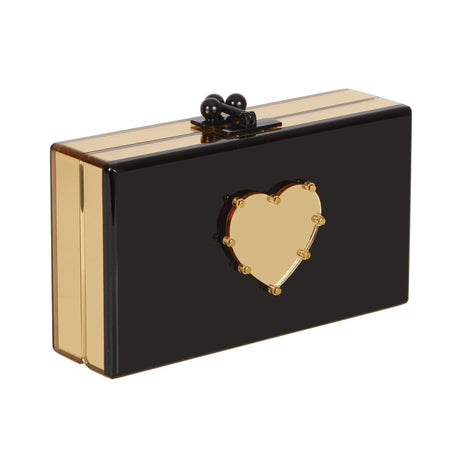 Edie Parker Jean Small Studded Heart Clutch Handbag in Black and Gold Mirror sides with Gold Mirror Heart and Gold Mirror Studs with Black Hardware