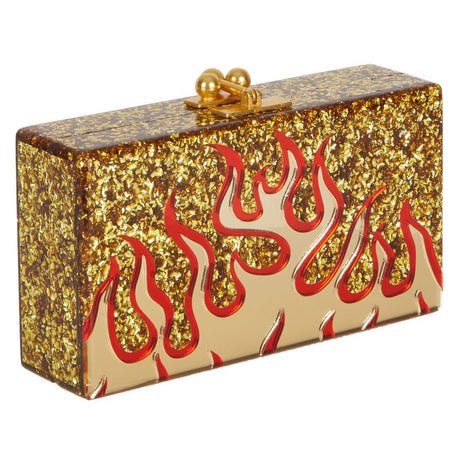 Edie Parker Jean Flames Handbag Clutch in Gold Confetti with Red Mirror and Gold Mirror Flames Motif and Gold Hardware