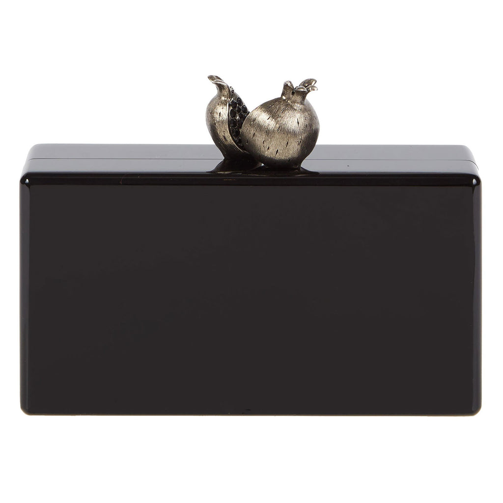 Edie Parker Jean Pomegranate Clutch Bag in Black with Novelty Metal Pomegranate Clasp  Angled View