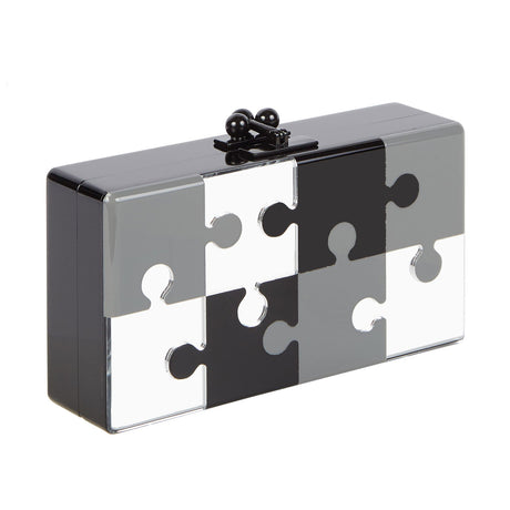 Jean Puzzled in black with grey, black and clear mirror puzzle inlay and black hardware.