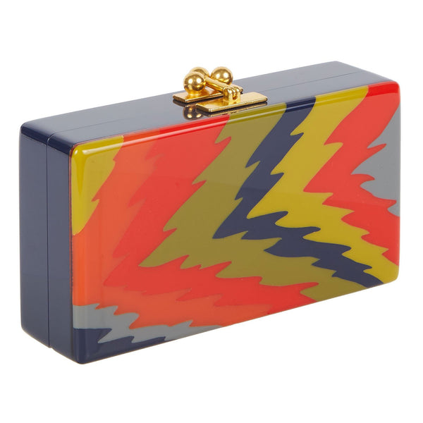 navy, Edie Parker Jean Ripple Clutch Handbag in Navy Blue with Gray Orange Red Green Yellow