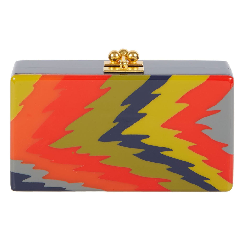 Edie Parker Jean Ripple Clutch Handbag in Navy Blue with Gray Orange Red Green Yellow Feature
