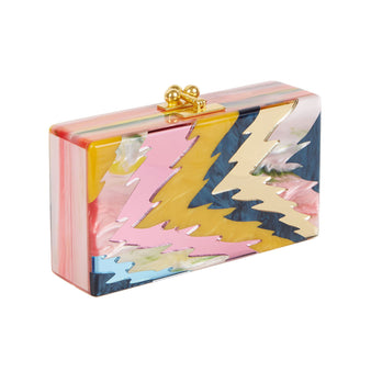 Edie Parker Jean Ripple Clutch Handbag in pink tie dye with navy pearlescent, blue mirror, pink tie dye, pink mirror, mustard pearlescent and gold mirror