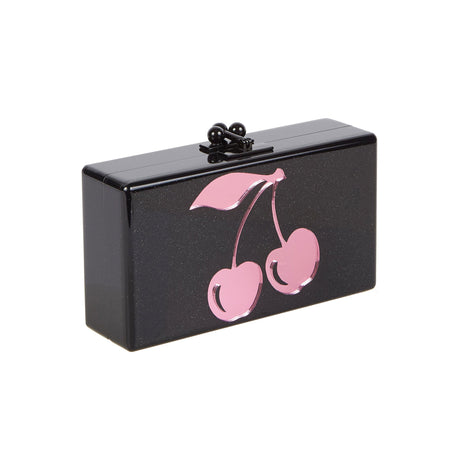 obsidian, Edie Parker Jean Cerise Clutch handbag in Black and Pink Mirror Cherry Motif