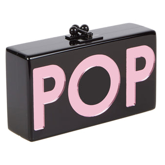 Edie Parker Jean POP Clutch Bag in Black with Pink Mirror Block Text