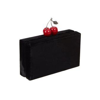 Edie Parker Jean Cherry Velvet handbag clutch in Black with Red Novelty Cherry Clasp