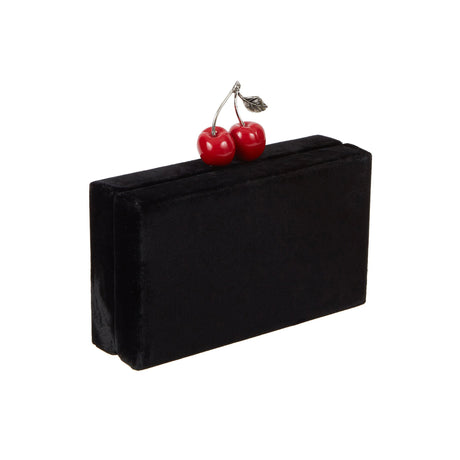 Jean Cherry Velvet in black velvet with red cherry metal novelty clasp with signature cotton lining.