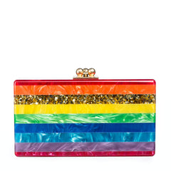 Edie Parker Jean Striped Rainbow Clutch with Gold Hardware front view