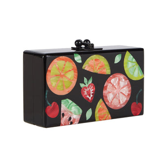 Edie Parker Jean Fruit Cocktail Clutch Handbag in Obsidian Black with Orange, Cherry, Strawberry, Lime, Watermelon motif in Orange, Pink, Red, Lime Green, Yellow, Kelly Green, Black Hardware