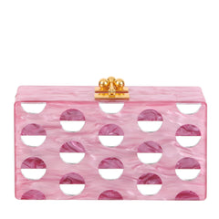 Edie Parker Jean Double Dot Dusty Pink Rose Mirror Design Handbag Clutch Front View