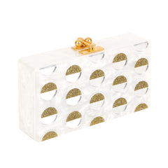 Jean Double Dot White Pearlescent Gold Glitter Clear Mirror Design Handbag Clutch Feature View