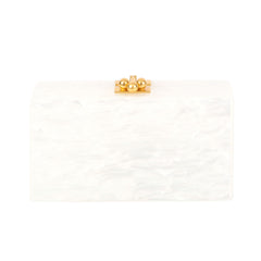 Jean Double Dot White Pearlescent Gold Glitter Clear Mirror Design Handbag Clutch Back View